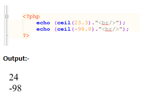 PHP Ceil function