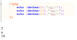 php dechex() function
