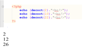 php decoct() function