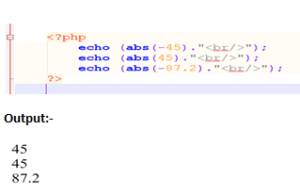 PHP ABS() function