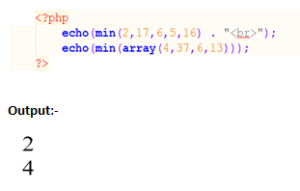 PHP min() function