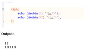 php decbin() function