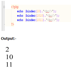 php bindec() function