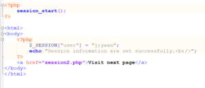 create a PHP session1.php