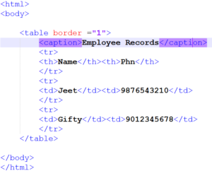 caption tag in html table