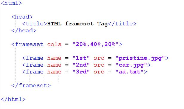 cols attribute in Frame HTML - Pristine Tech School
